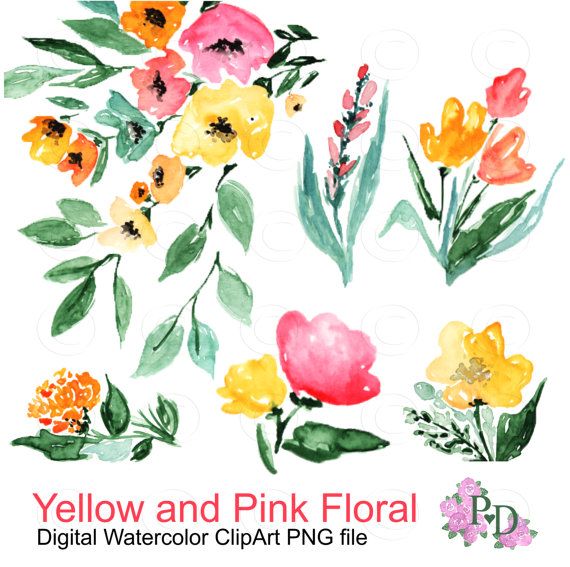 Vineyard clipart agriculture Floral Pink Fall Watercolor Digital