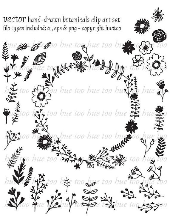 Wreath clipart old pen This Hand ideas digital flowers