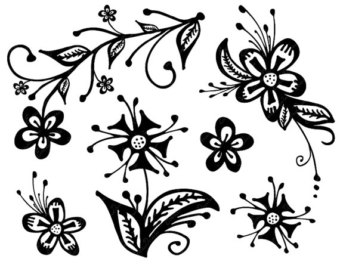 Floral clipart elegant flower // flower Flowers // Black