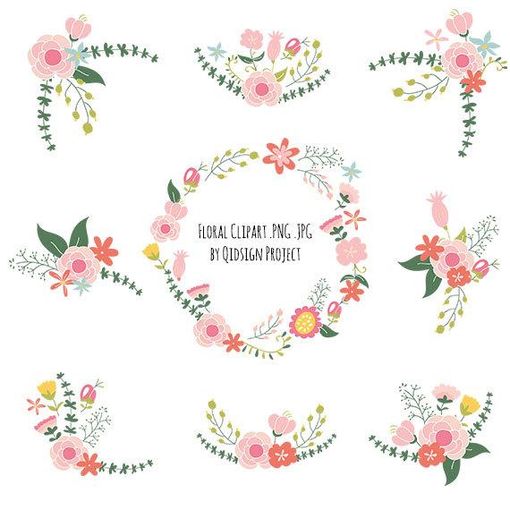 Peach Flower clipart floral wedding Wedding wedding Bouquet clipart Flower