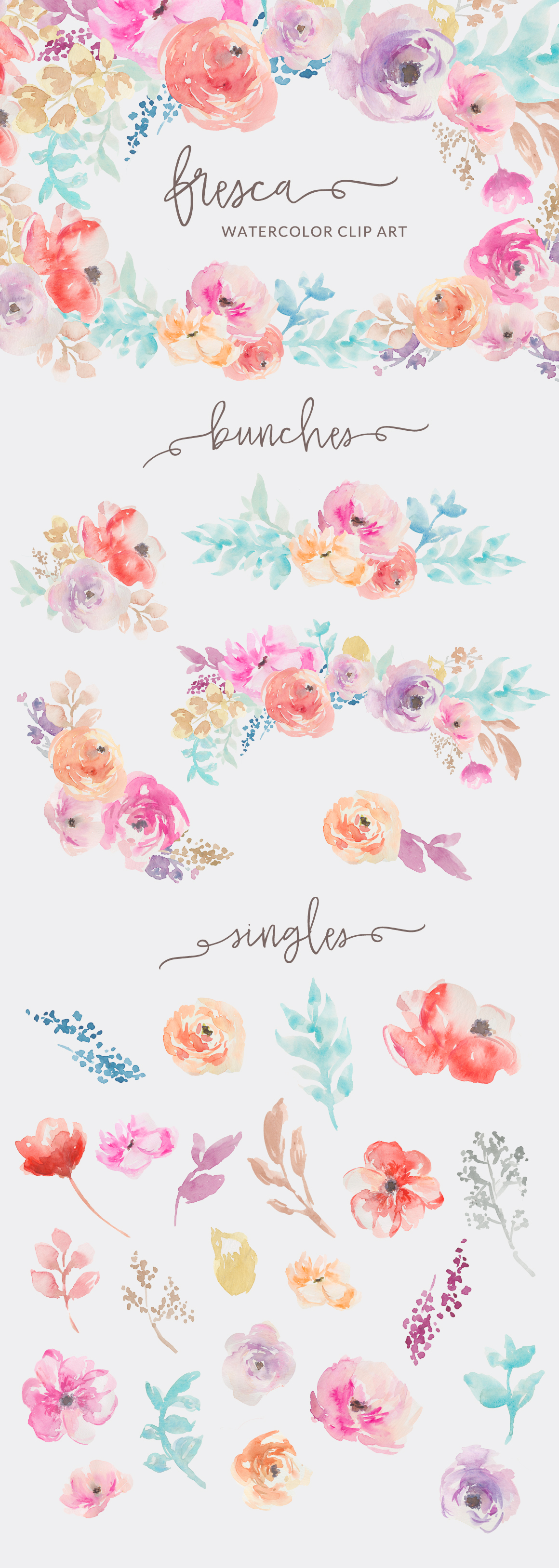 Illustration clipart colorful flower Flowers Clip Watercolor Collection Art