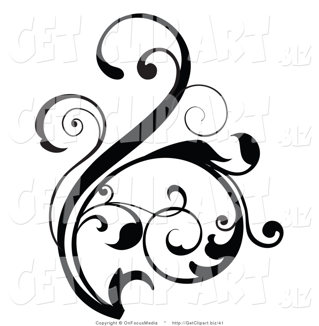 Floral clipart floral scroll Flower Clip Scrollwork Flower Clipart