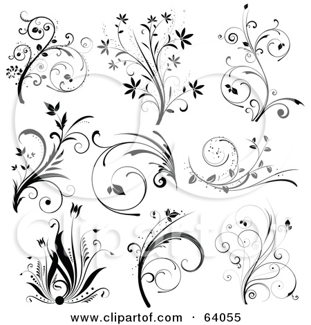 Floral clipart floral scroll Black Collage scroll Floral Scroll