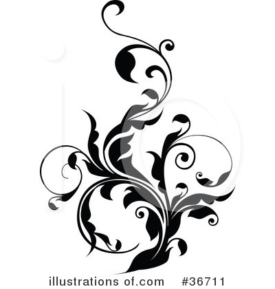 Floral clipart floral scroll Scroll #1 Magenta Clipart Clipart