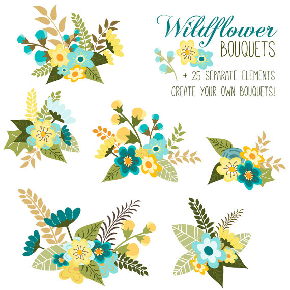 Yellow Flower clipart flower leaves Floral // Blue EPS Floral