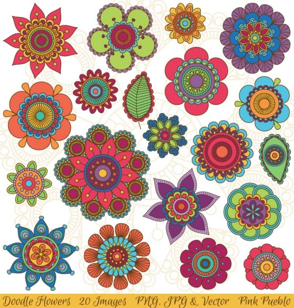 Floral clipart flower burst 20 files transparent JPG Set