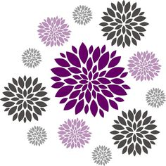 Floral clipart flower burst Decal Wall  sticker Nursery