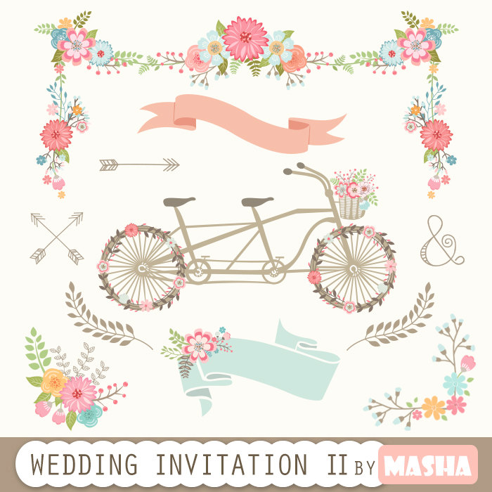 Floral clipart flower garland INVITATION II: Invitation banners clipart