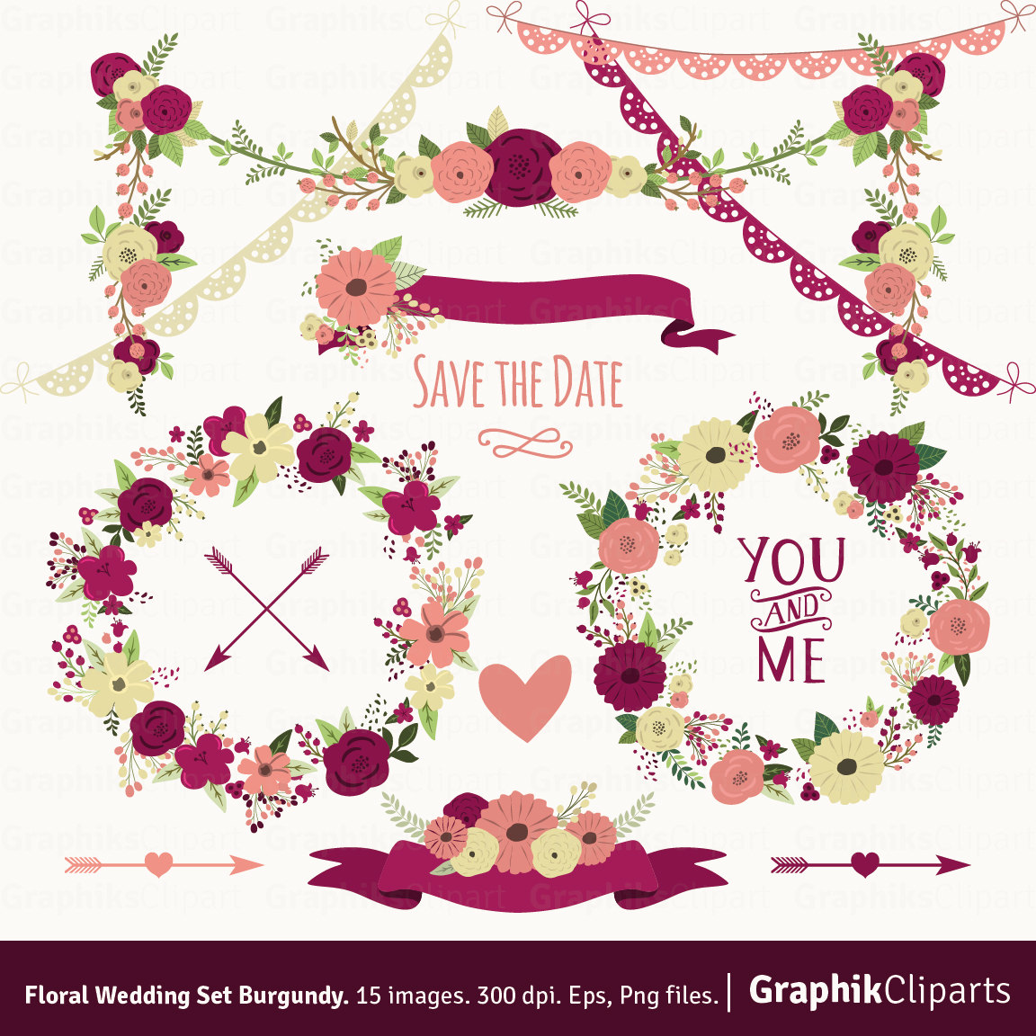 Floral clipart flower garland WEDDING Floral Wedding 300 dpi