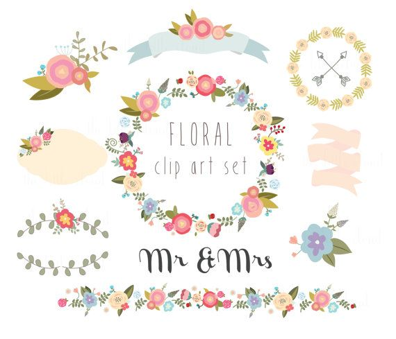 Floral clipart flower garland + Peach clipart border bunch