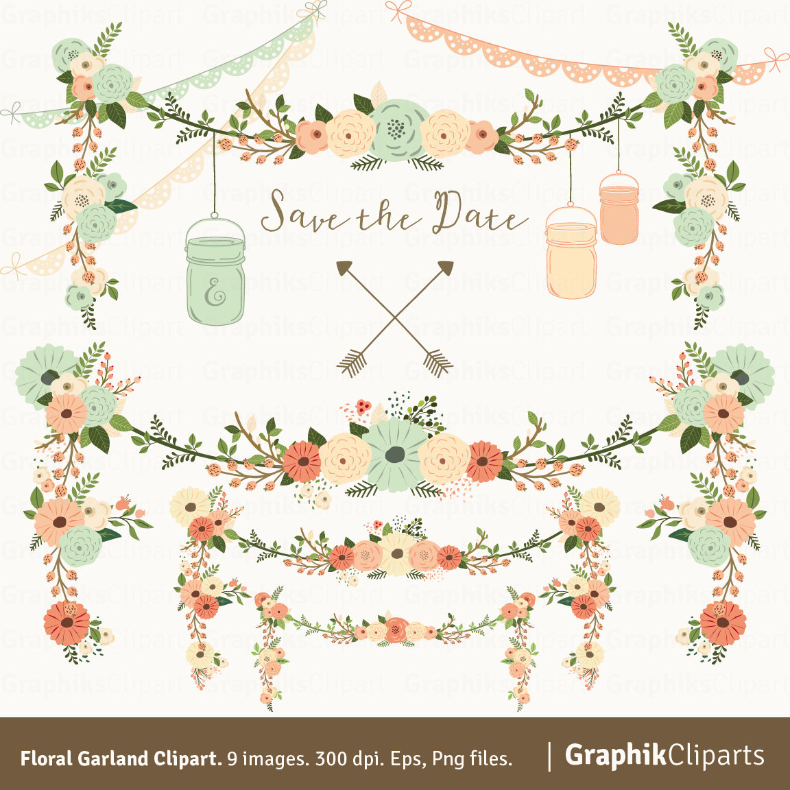 Pink Flower clipart flower garland Floral Floral GARLAND this Like