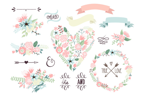 Floral clipart flower garland By Floral Wreath heart GraphicMarket