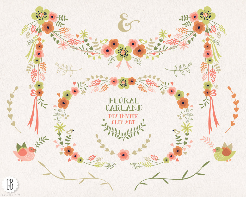 Yellow Flower clipart garland Flower garland Like this item?