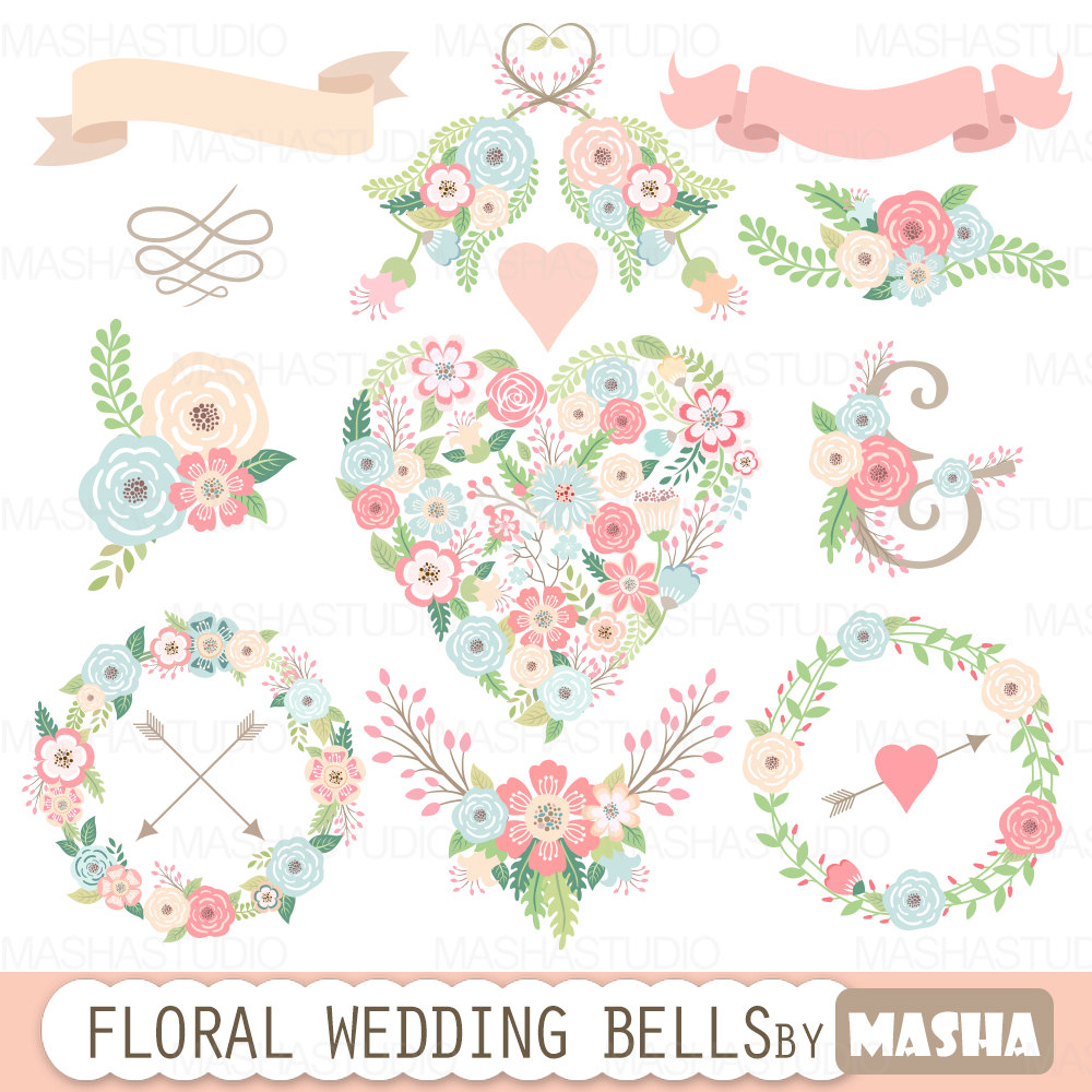 Floral clipart flower heart Floral flower with wedding heart