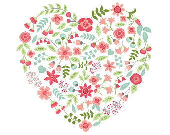 Floral clipart flower heart Floral Flowers Heart Heart Etsy