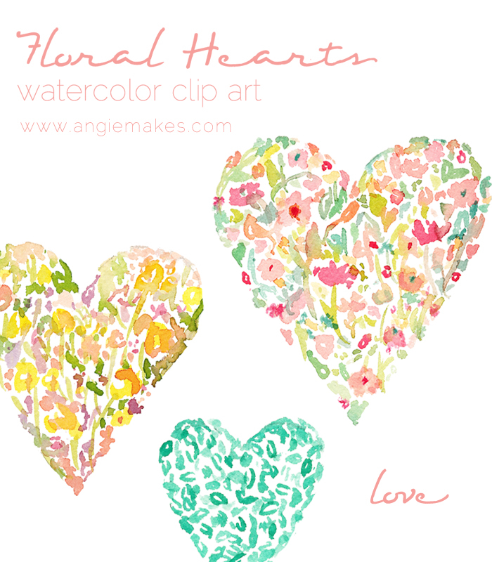 Floral clipart flower heart Floral Hearts Floral Watercolor clip