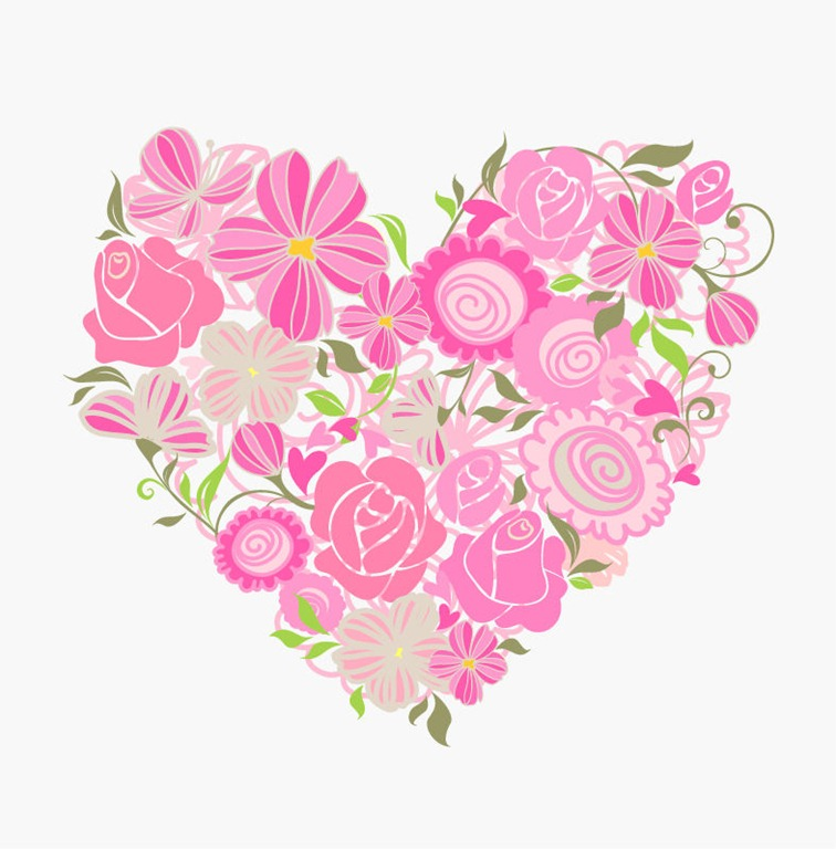 Floral clipart flower heart Pink All Graphic Vector Free