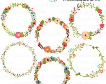 Floral clipart flower wreath Clipart Set floral clipart Etsy