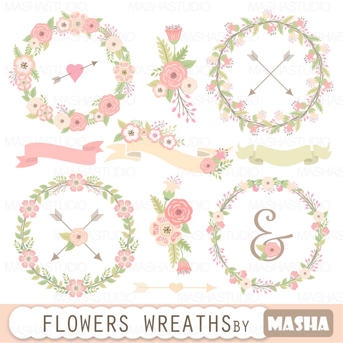 Pink Flower clipart ribbon Clipart: clipart: wedding flowers floral