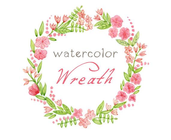 Wreath clipart watercolor Clipart Clipart Digital Flowers Frame