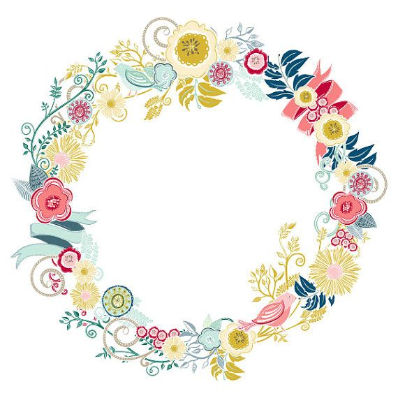 Floral clipart flowery Instant border and images Modern
