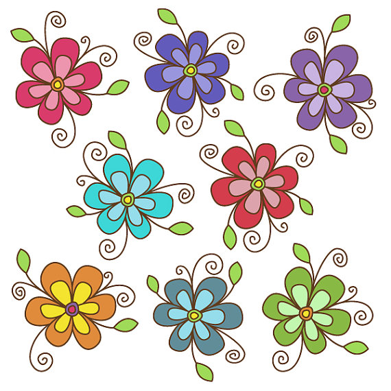 Floral clipart flowery Cardmaking and  Scrapbooking Clip