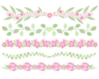 Peach clipart border Flower border border Personal Floral