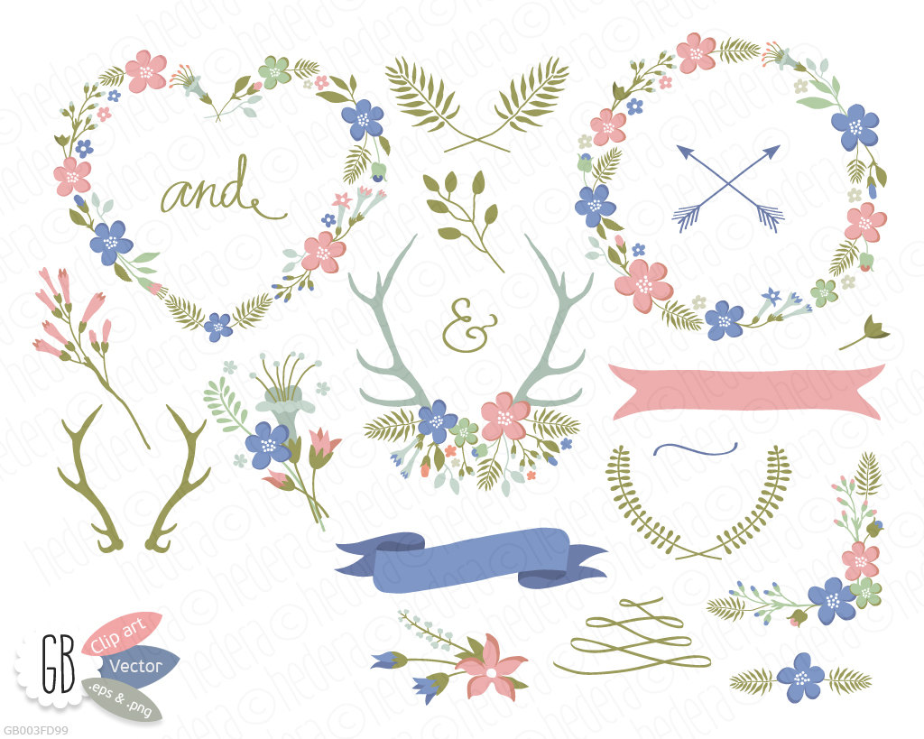 Wreath clipart pastel flower Flower flowers wild antlers arrows