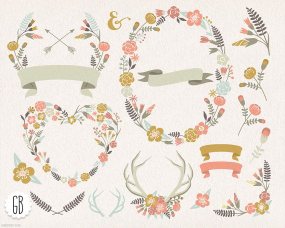 Wreath clipart woodland Chic antlers wreaths borders Floral