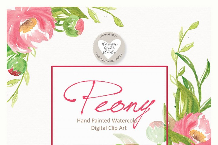 Peony clipart wedding invitation #4