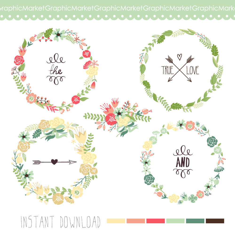 Vintage Flower clipart small flower Scrapbooking wedding Commercial art Digital