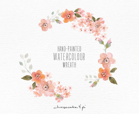 Peach Flower clipart peach blossom Elegant wreath more this Watercolor