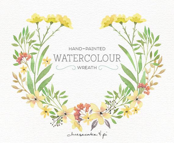 Wreath clipart watercolor Floral floral PNG art flower