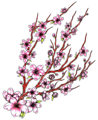 Pink Flower clipart japanese cherry blossom Cherry Tattoo Cherry Meaning Blossom