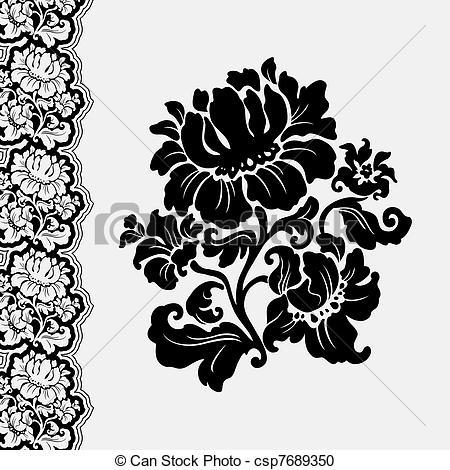 Drawn photos lace flower Lace border flower vector flower