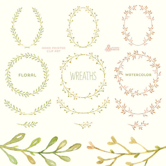 Wreath clipart digital 12 flowers wedding digital laurel