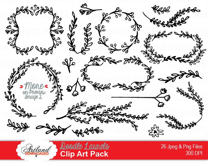 Floral clipart leafy vine Laurels Doodle Leaf Corners Drawn