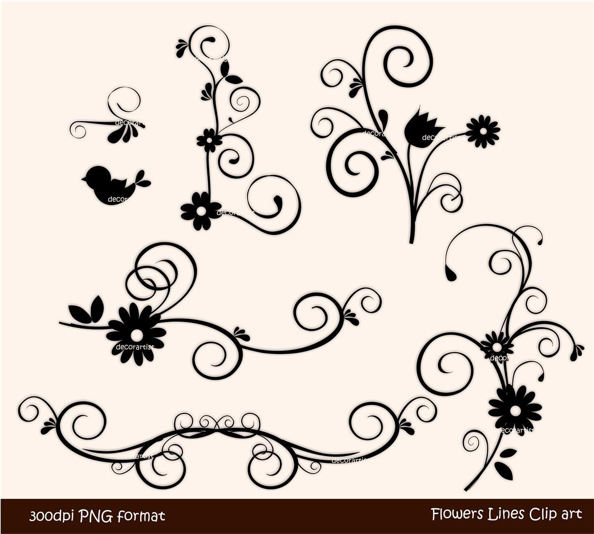 Floral clipart line art Flowers white Hd white clip