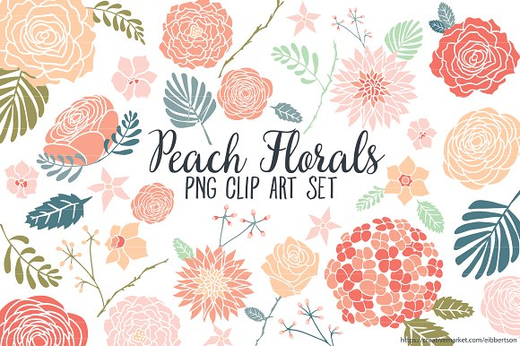 Peach Flower clipart orange Peach Clip Peach Floral Illustrations