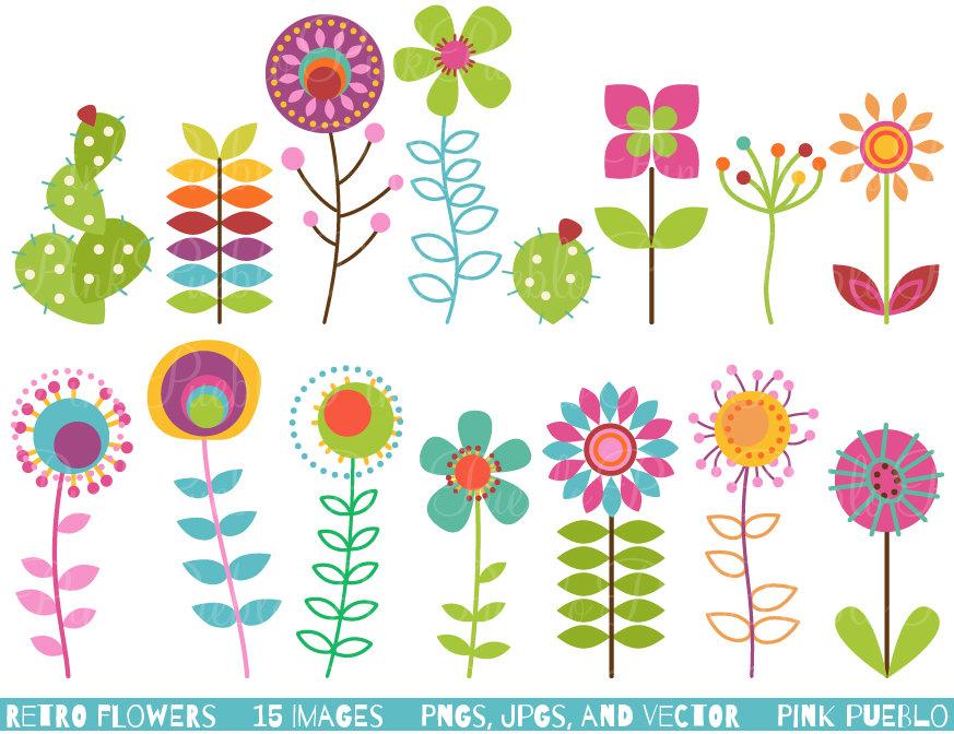 Floral clipart line art  Art Clip Clipart Vintage
