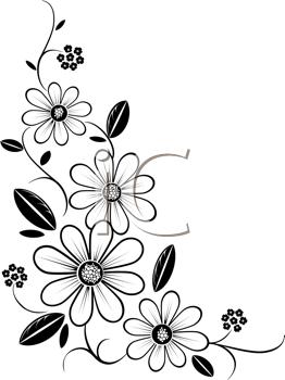 Floral clipart line art Clip art  Flower Corners