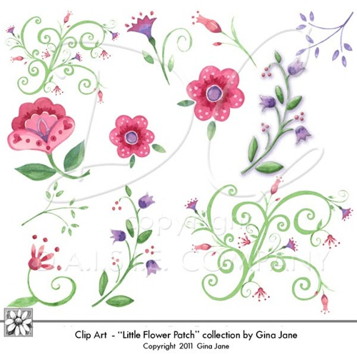 Pink Flower clipart little flower  Whimsical watercolor Printables Graphics