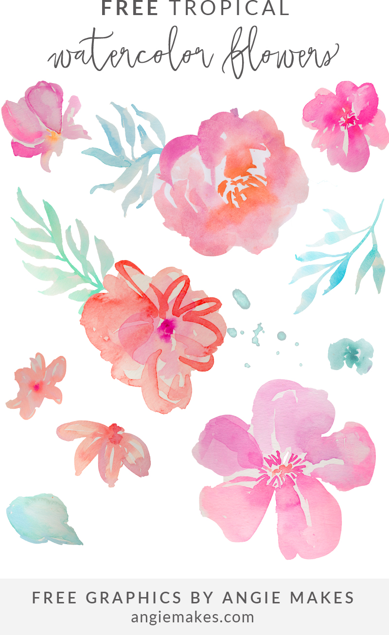 Pink Flower clipart little flower Art Free Watercolor Free Tropical