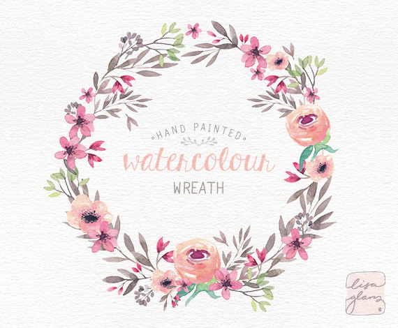 Folk clipart floral garland Clip and / invitation Watercolor