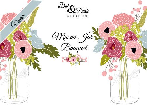 Ranuncula clipart mason jar flower Clip clip bouquet This rustic