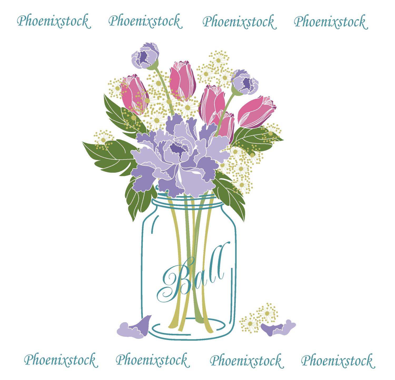 Ranuncula clipart mason jar flower Digital art/ Wedding Etsy Clip