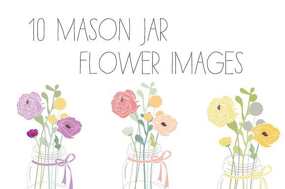 Ranuncula clipart mason jar flower #11
