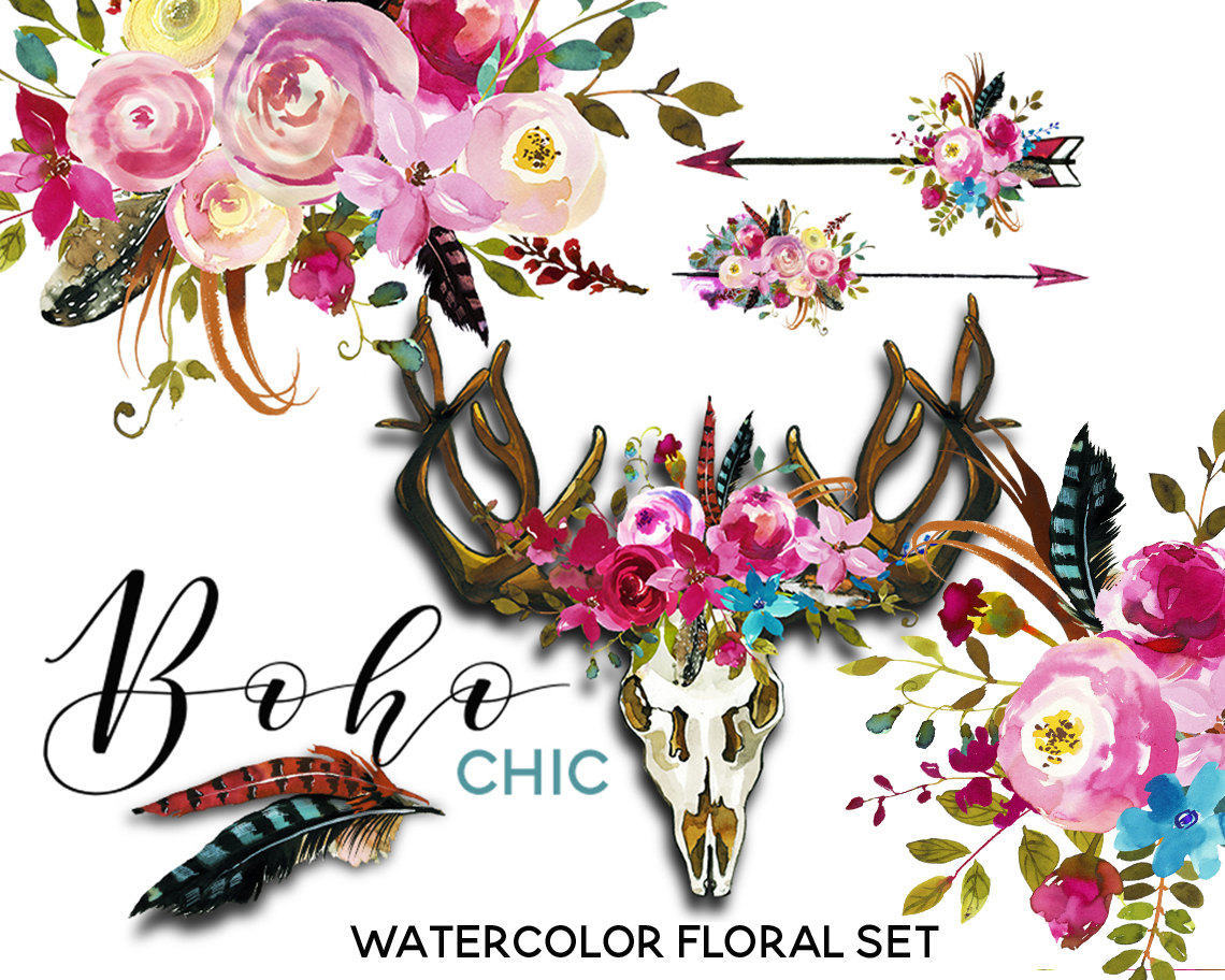 Floral clipart modern arrow Scull Watercolor Blue Antlers Wreaths