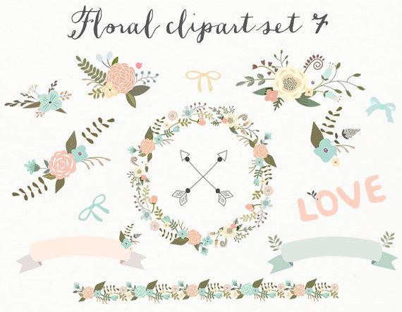 Floral clipart modern arrow Ribbons clipart Digital border Digital