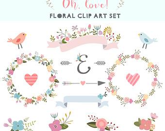 Floral clipart modern arrow Ribbons clipart Wreath bunches Digital